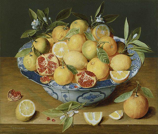 Jacob van Hulsdonck, Nature morte aux citrons, oranges et grenades, 1640, Getty