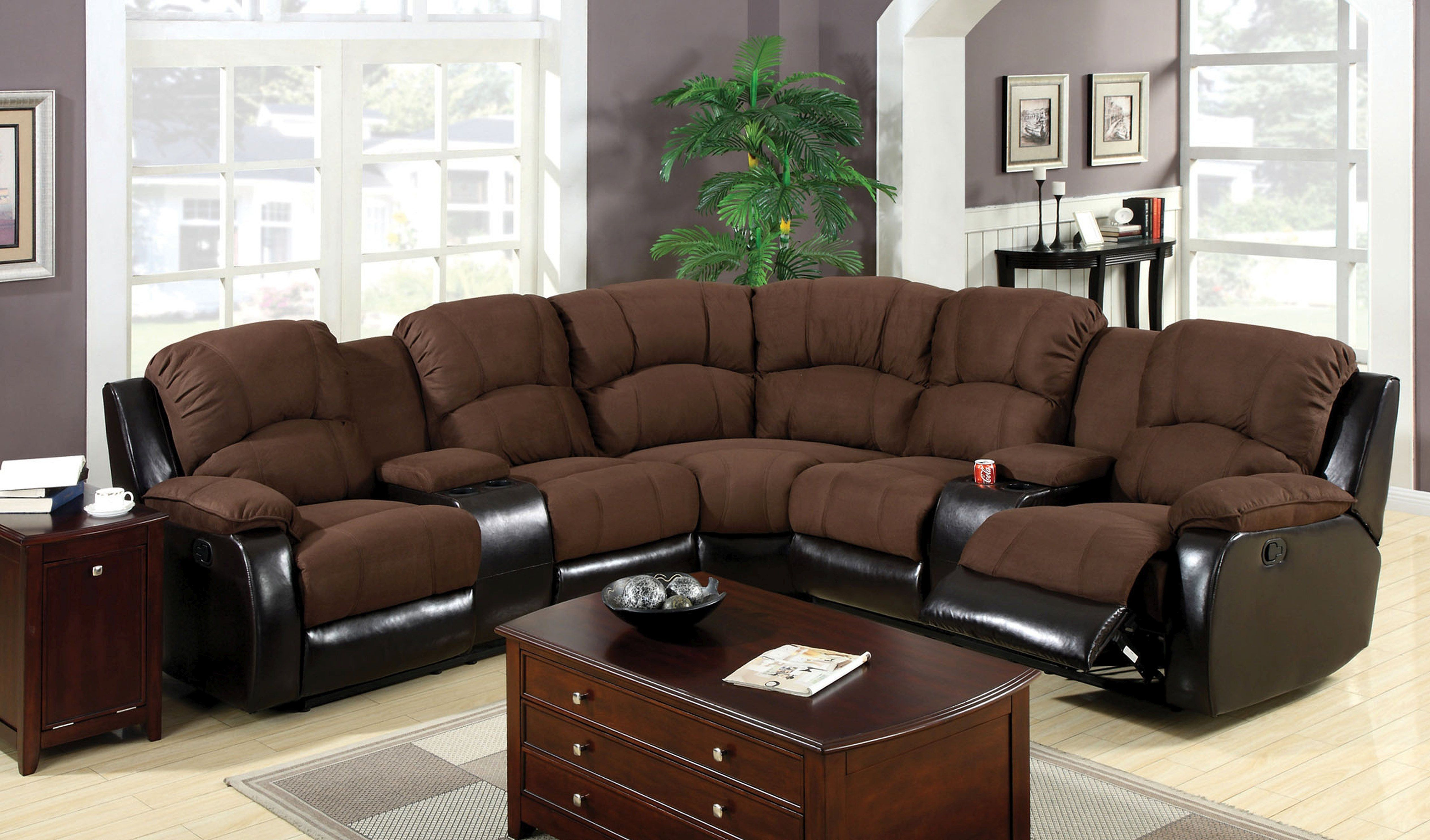 Santi Contemporary Style Plush Brown Elephant Skin Microfiber And Leatherette Sectional Recliner Sectional Sofa With Recliner Sectional Sofa With Chaise Sectional Sofa Couch