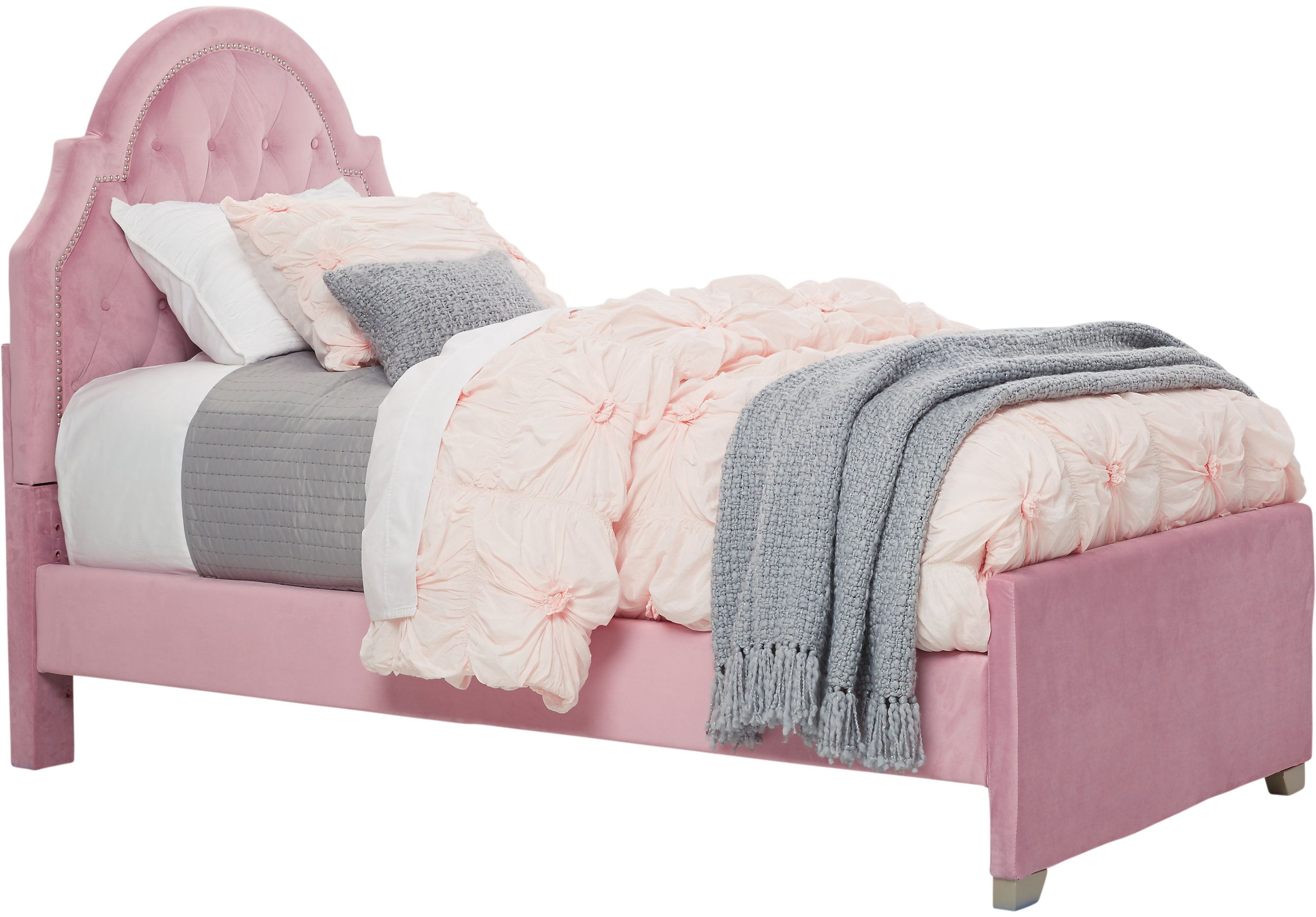Braelynn Pink 3 Pc Twin Upholstered Bed Twin Beds Colors