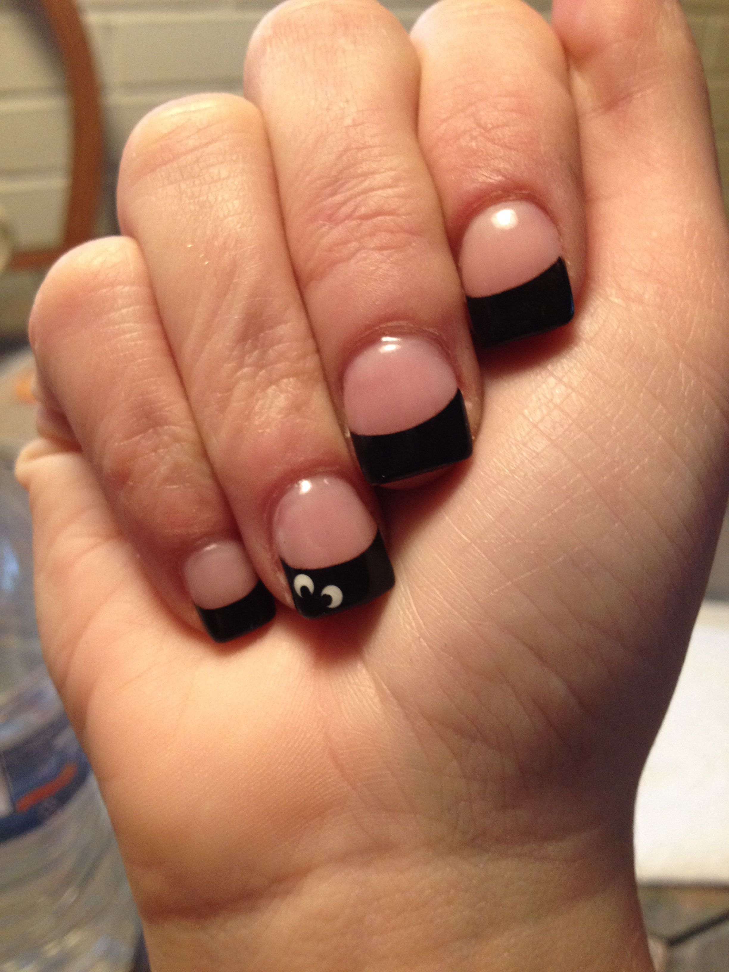 Simple Halloween French Manicure | Makeup nails, Manicure ...