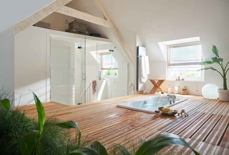 Un espace zen pour la salle de bains sous les combles maison