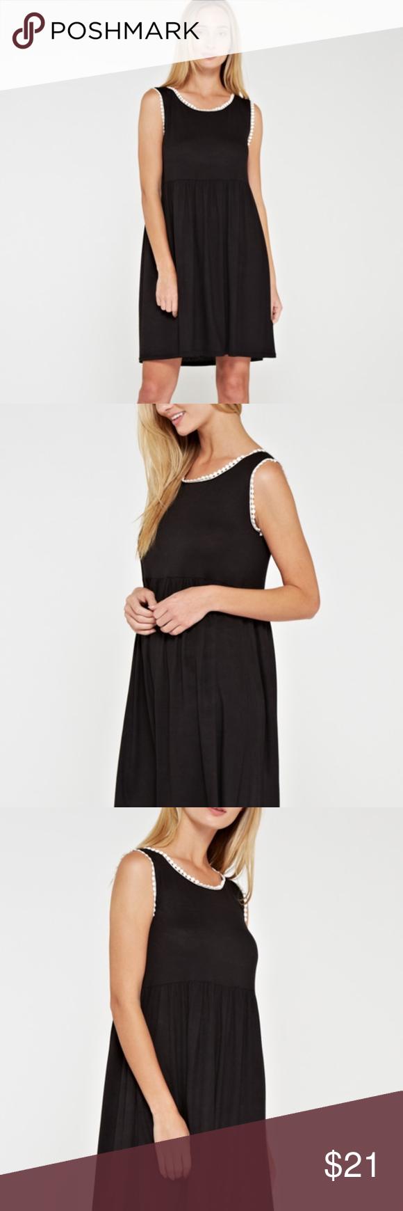 Black Mini Dress With White Trim Mini Black Dress Mini Dress Dresses [ 1740 x 580 Pixel ]