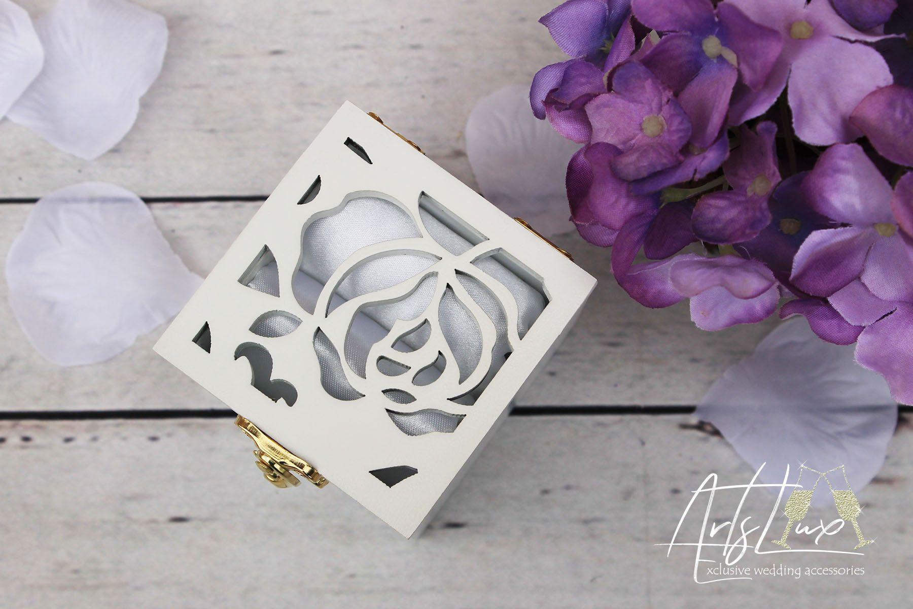 Wedding Ring Bearer Box/&Royal Blue satin-Wooden Ring Keepsake Box-White Ring Holder-Monograms Engagement ring box-Wedding Gift-Proposal box