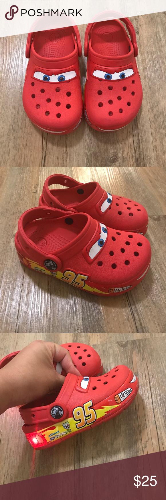 Disney Cars light up crocs kids size 9