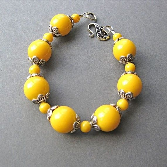 Yellow Beaded Bracelet with Large beads by DiBeauDesigns on Etsy