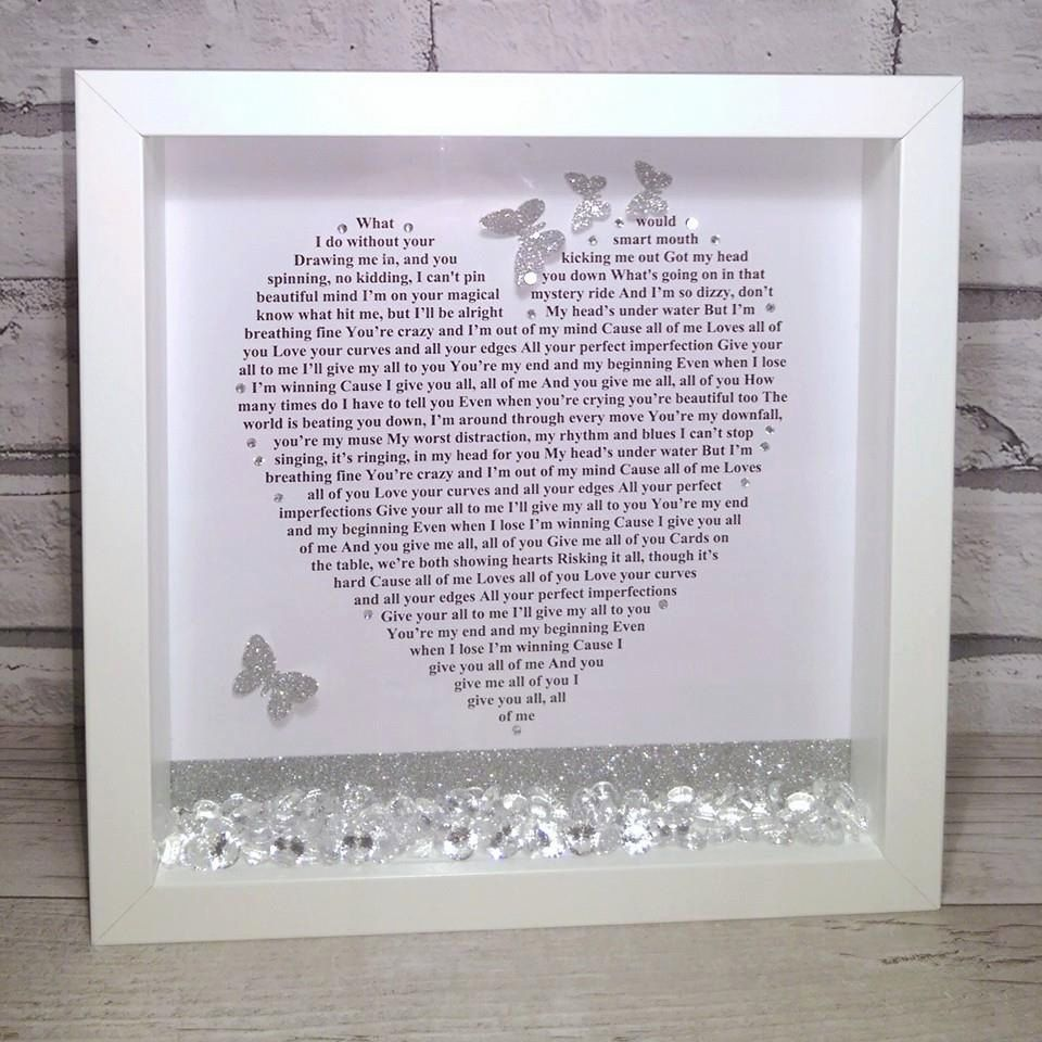 Picture frame lyrics gallery craft decoration ideas any song lyrics mr mrs wedding gift personalised frame first john legend all of me song jeuxipadfo Gallery