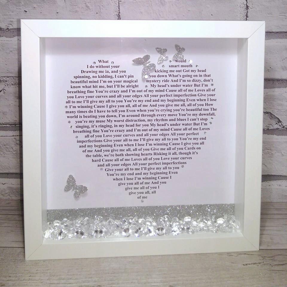 Any Song Lyrics, Mr & Mrs, Wedding Gift, Personalised Frame, First ...