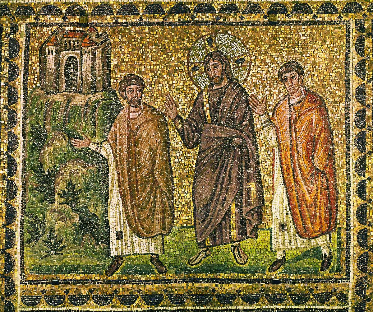 BYZANTINE MOSAIC 6TH  Christ appears to the Apostles on the road to Emmaus. Mosaic (6th)  Sant'Apollinare Nuovo, Ravenna, Italy