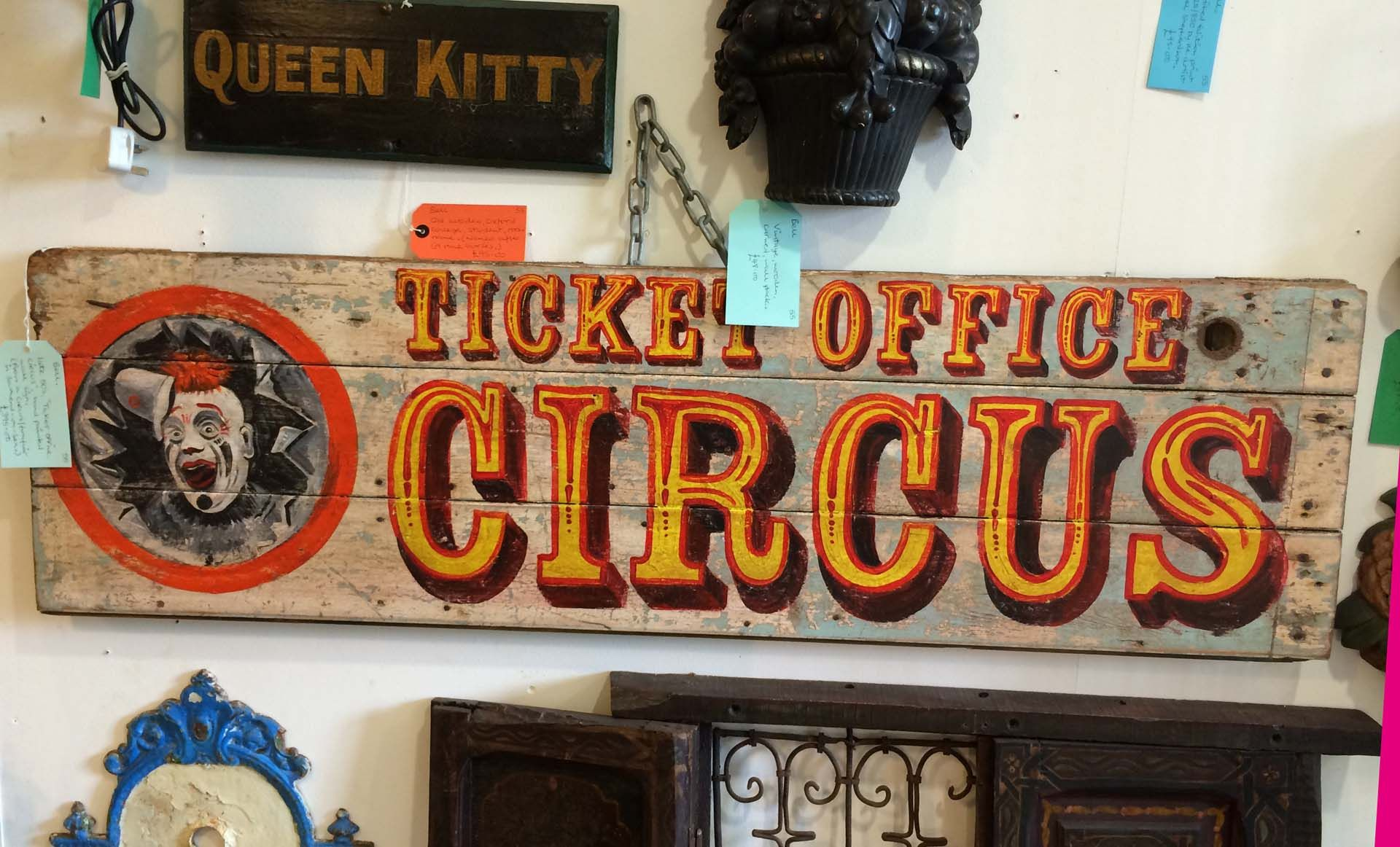 LARGE Circus Ticket Office Sign Antique Carnival Sign Vintage Fairground Sign