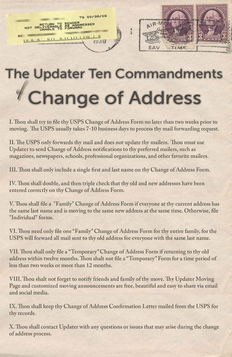 Commandments For Change Of Address Handy When Moving
