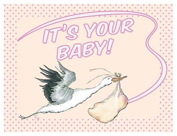 Baby Shower, Baby Card, Baby Girl, 50s, Rockabilly, Greeting Card ...