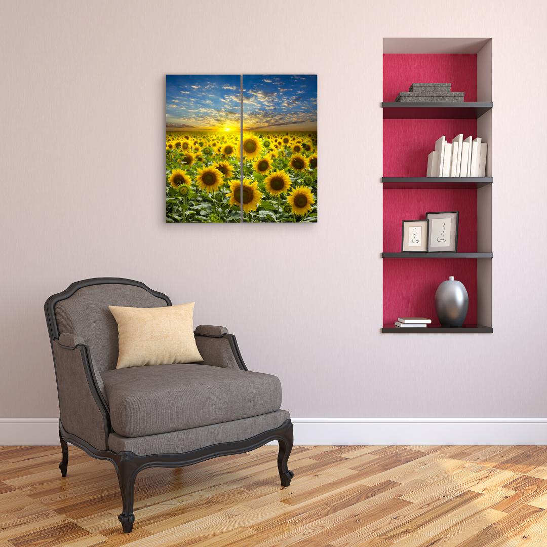 Canvas Wall Art Decor 12x24 2 Piece Set 24x24 Total Sunflower Field Lovelyhomeessentials In 2020 Canvas Art Wall Decor Wall Art Decor Living Room Canvas Wall Art