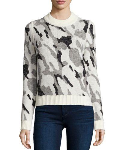 TALMY Veronica Beard Hybbard Camo-Knit Sweater
