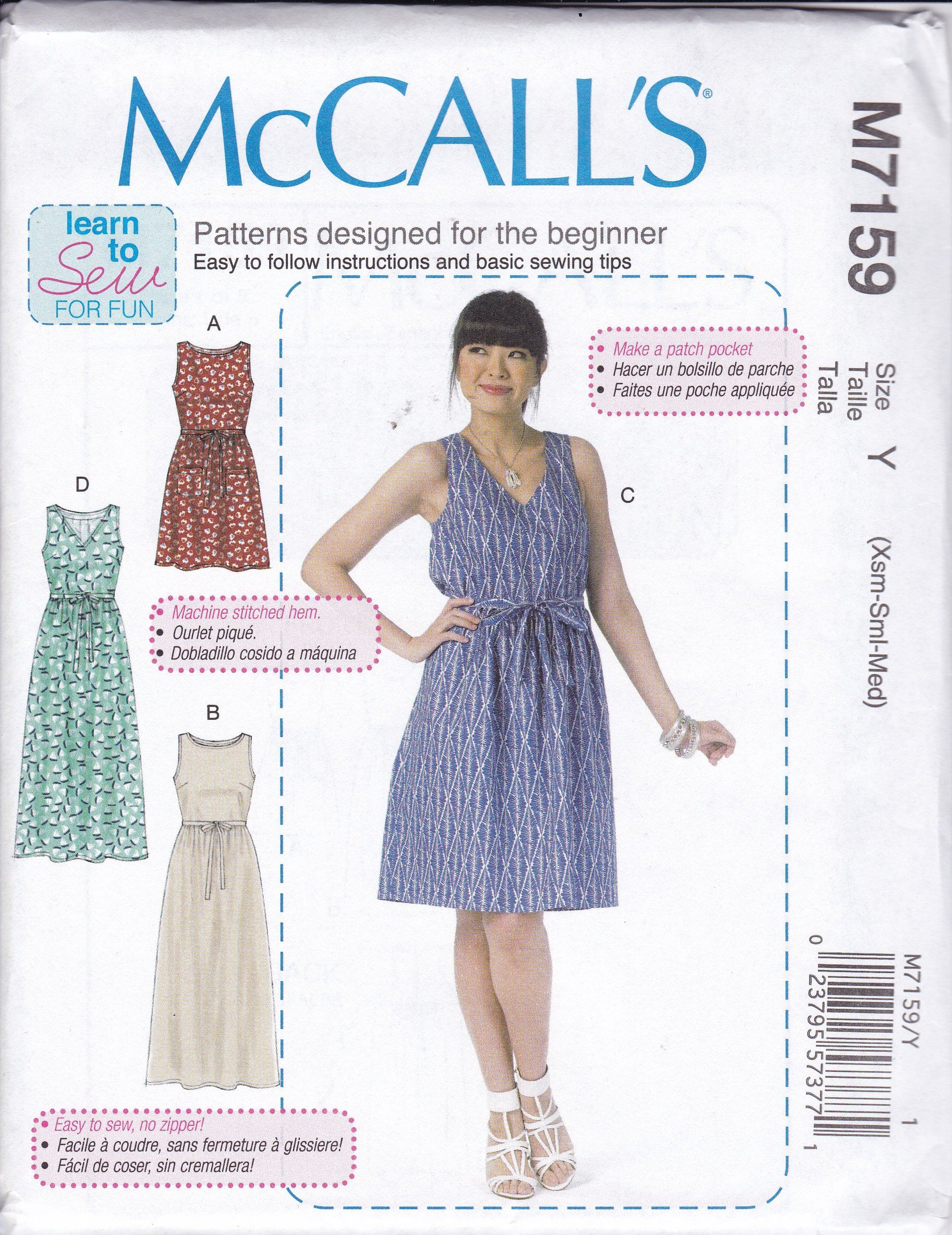 FREE US SHIP McCall\'s 7159 Sewing Pattern Learn to Sew Easy Dress ...
