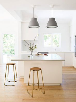 So Much Light Grey Pendant Lights Big Island Bench Calm Neutral - Kitchen island bench pendant lighting