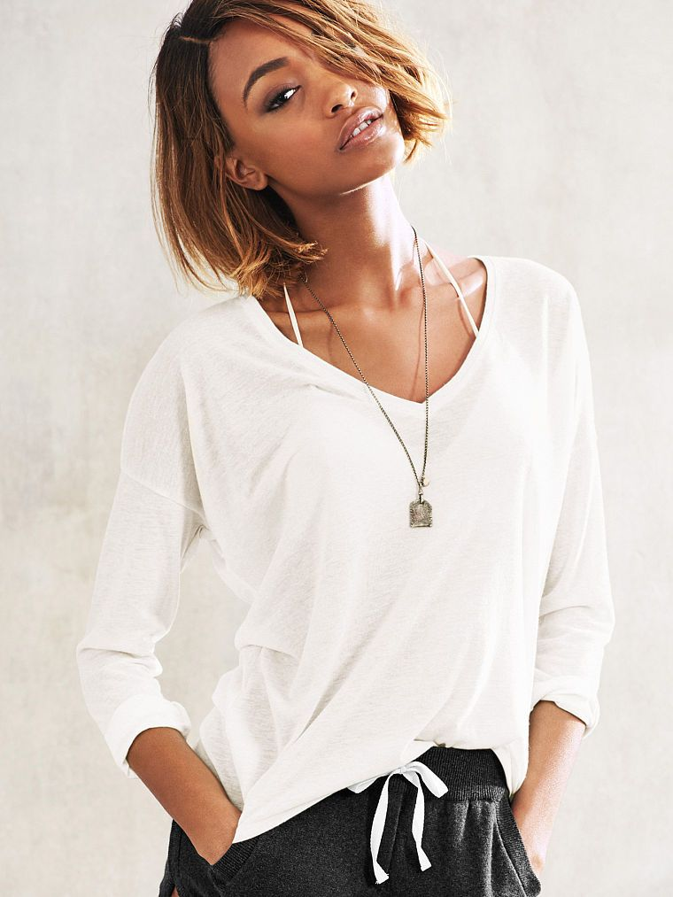 Victoria's Secret lightweight long-sleeved v-neck slub tee.