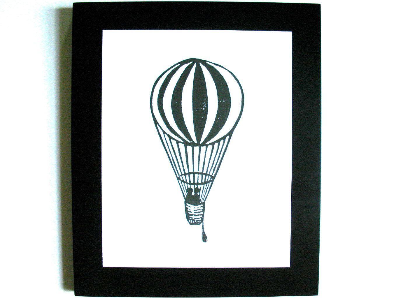 linocut print hot air balloon black 8x10 letterpress poster on