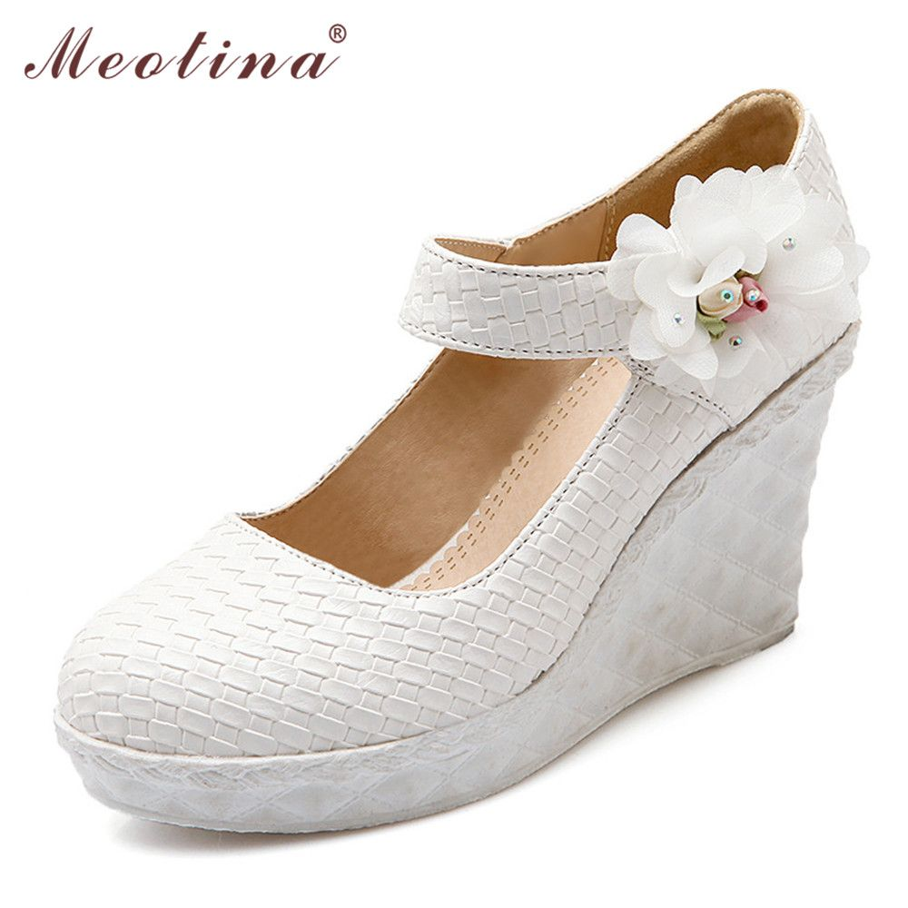 Meotina Shoes Women Wedges White Wedding Pumps Bridal Shoes Mary Jane  Platform Wedges Fashion Flower Party 5a7bf91b335b