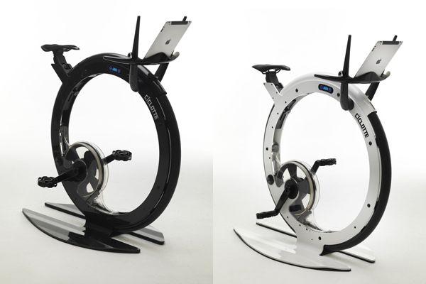 Round exercise bicycle inspired by Tonino Lamborghini