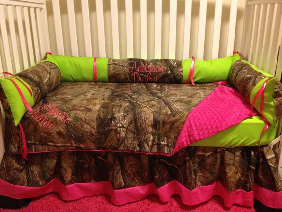 7pc Camo Mossy Oak Fabric Pink Crib Bedding Nursery Set: Camo RealTree With Lime & Pink Baby Crib By
