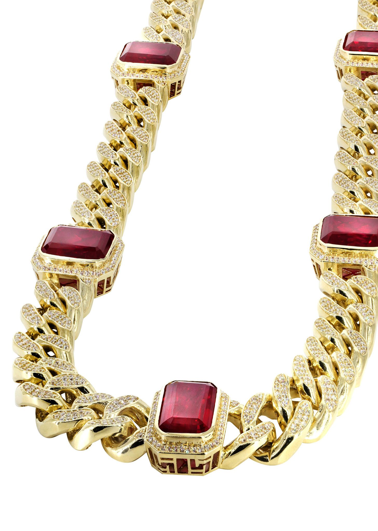 Solid Mens Ruby Amp Cz Miami Cuban Link Chain 10k Yellow