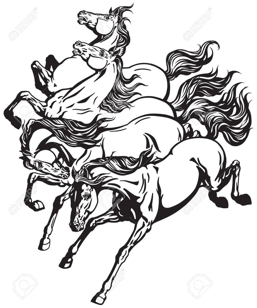 Horses Four Running Wild Mustangs Black And White Tattoo Vector Horse Coloring Pages Horse Tattoo Design Horse Tattoo [ 1300 x 1083 Pixel ]