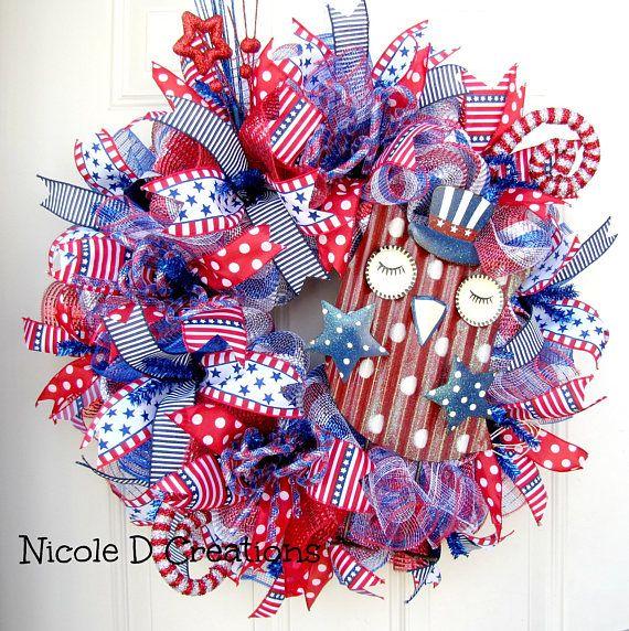 Photo of 4th of July Wreaths- Patriotic Wreaths- Deco Mesh Wreath- Owl Wreath!