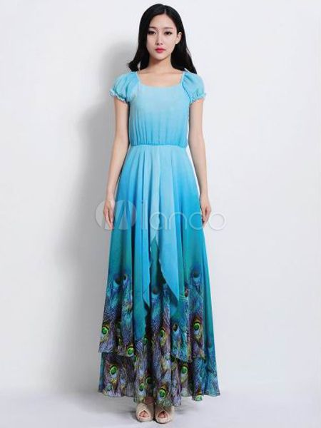 Blue Peacock Feather Print Chiffon Maxi Dress | Peacocks, Feathers ...
