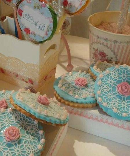 Gorgeous shabby chic Baptism Party cookies! See more party planning ideas at CatchMyParty.com!