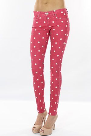 dusty rose polka dot jeans