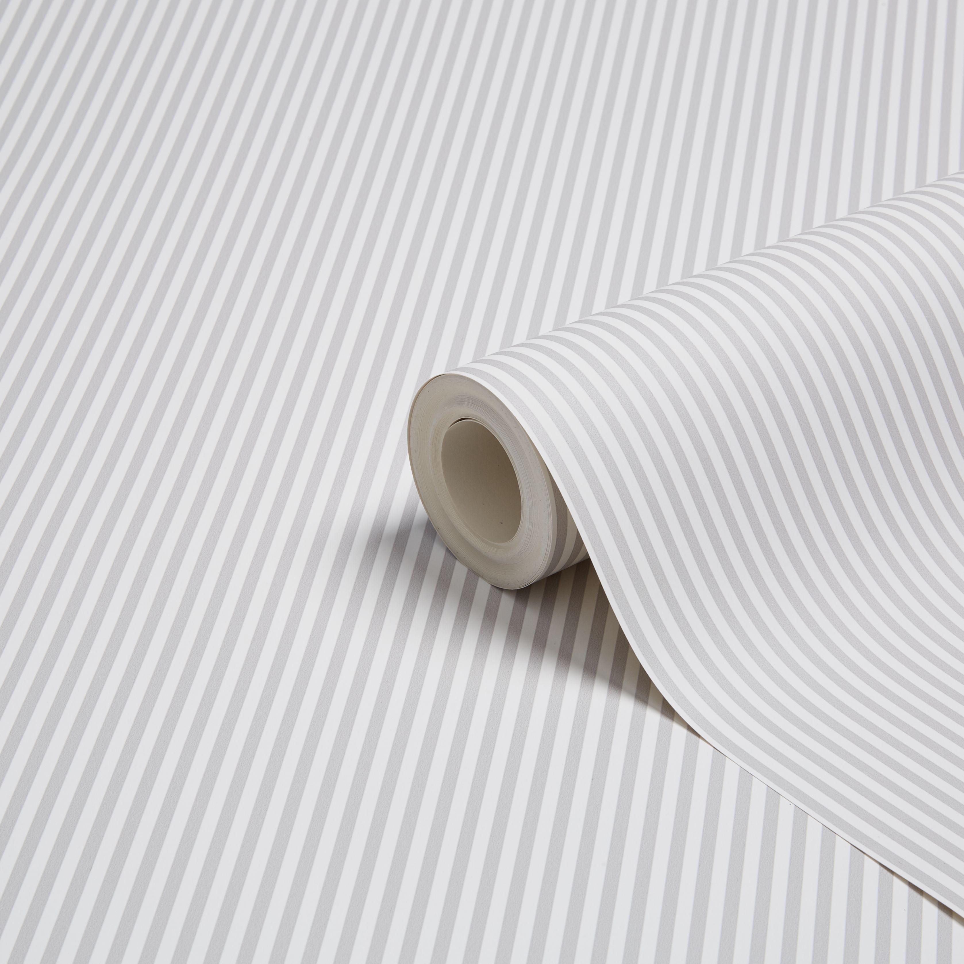 Graham & Brown Fresco Grey & white Slim stripe Wallpaper