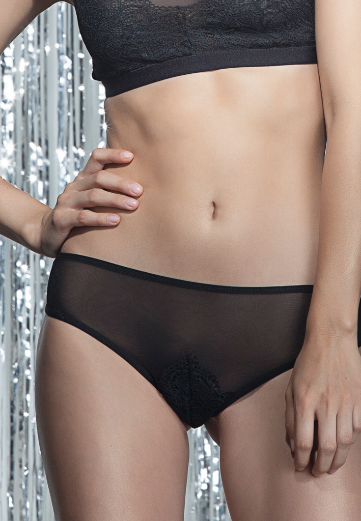 34ec4e72c Noise Lab Black Night Panty. Light and lovely semi sheer mesh cheeky panty  with embroidered lace applique