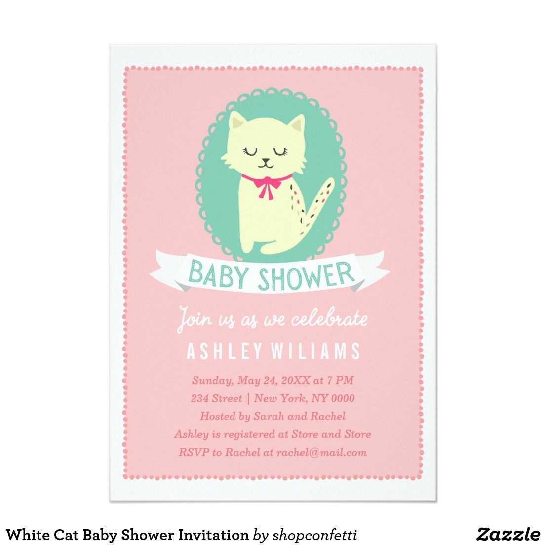 White Cat Baby Shower Invitation Zazzle Com Cat Baby Shower Invitations Cat Baby Shower Baby Girl Invitations