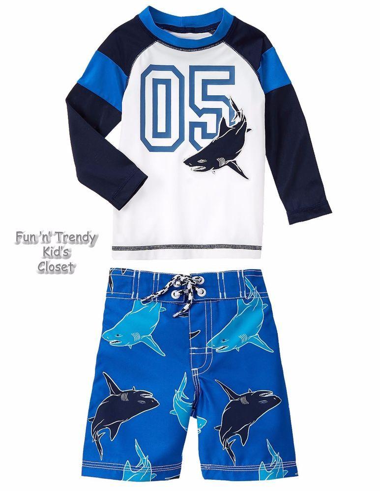 NWT Gymboree Boys Swimsuit Shark Rash Guard Swim trunk Set 2t 3t