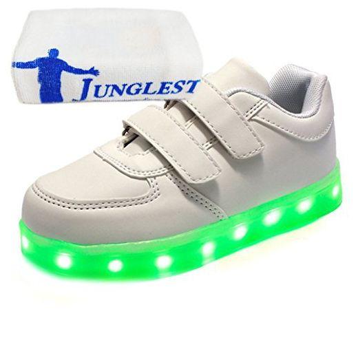 [Present:kleines Handtuch]Golden EU 36, Größe Schuhe Sportschuhe LED Aufladen weise Unisex-Erwachsene Sneaker High Weiß Leuchtend USB für Turnschuhe Damen Sport JUNGLEST® H