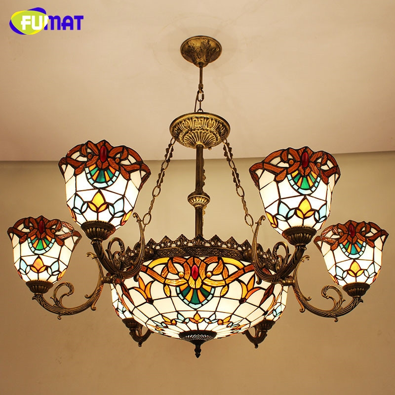 490.00$  Watch here - http://alikt8.worldwells.pw/go.php?t=1536058832 - Tiffany Glass Pendant Lamps European retro  Style 7  Lights Living Room Lamps Bedroom Lamp Study Lamp DIA 85 CM H 56 CM