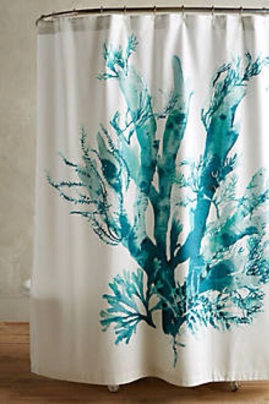NWT Anthropologie Gingko Turquoise Blue Coral Shower Curtain