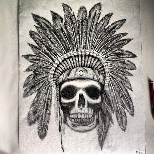 15178c2e890ff A3 Pencil Indian Skull #tattooflash #art #pencil #drawing #skull #tattoo  (Taken with Instagram)