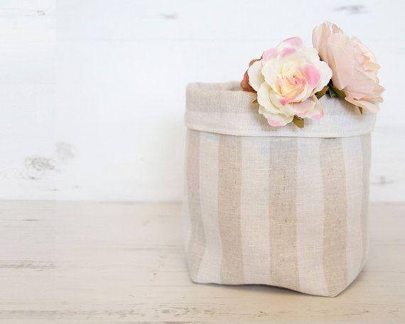 Fabric h&er Bread basket Toy storage Linen storage bin Nursery h&er Bathroom storage Baby h&er White nursery striped basket & Fabric hamper Bread basket Toy storage Linen storage bin Nursery ...