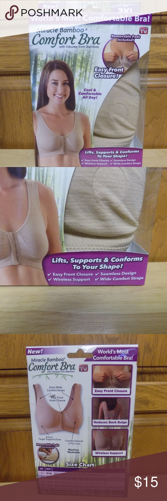 1ee7836106533 New Miracle Bamboo Comfort Bra Size 2XL New Miracle Bamboo Comfort Bra -  With Viscose from bamboo - Removable pads included - East front closure -  Lifts