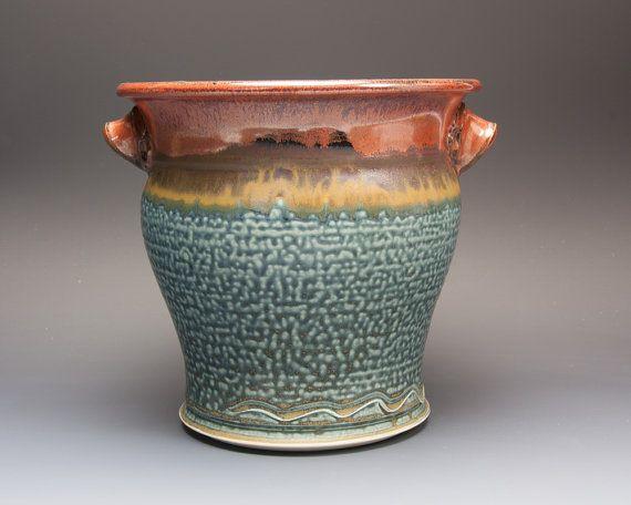 Ceramic stoneware kitchen utensil holder iron by BlueParrotPots