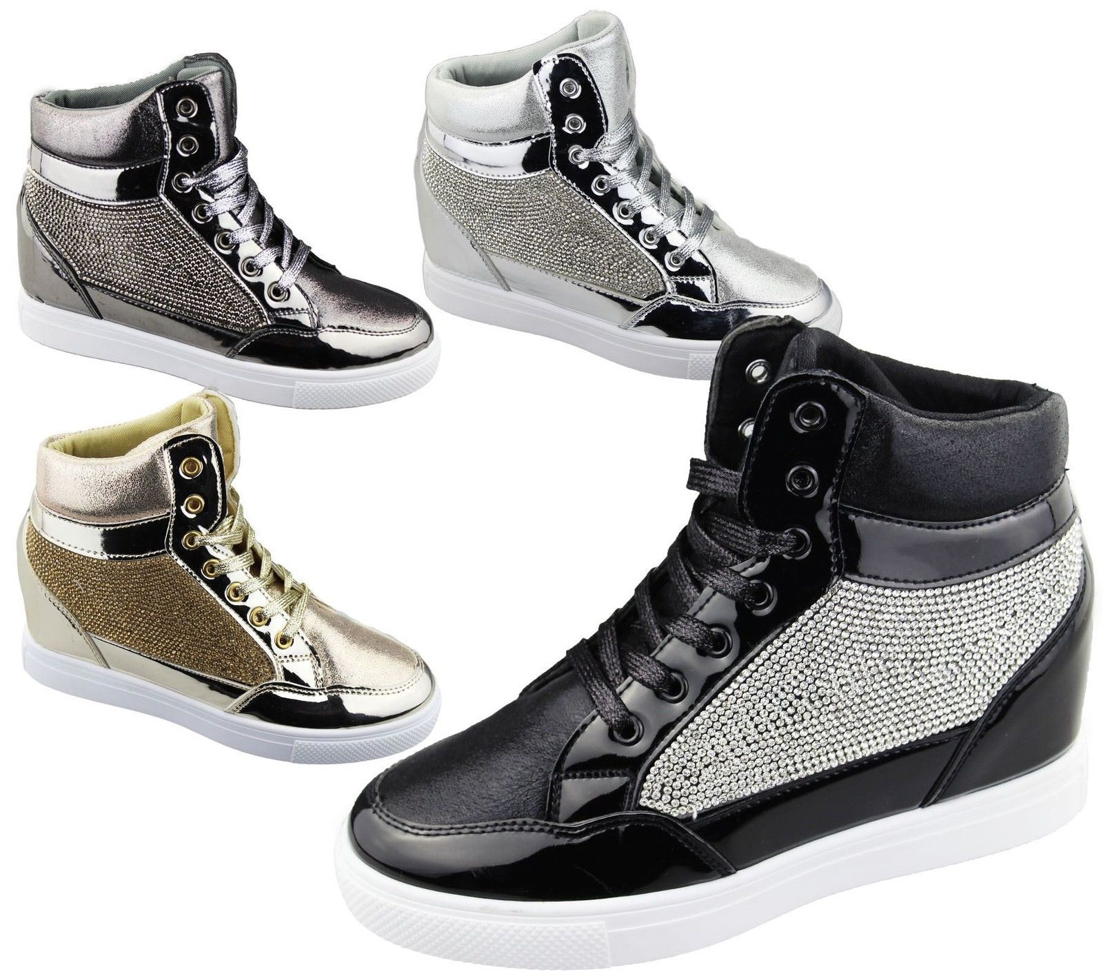 Womens Wedge Heel High Top Ankle Boot La s Diamante Summer Shoes