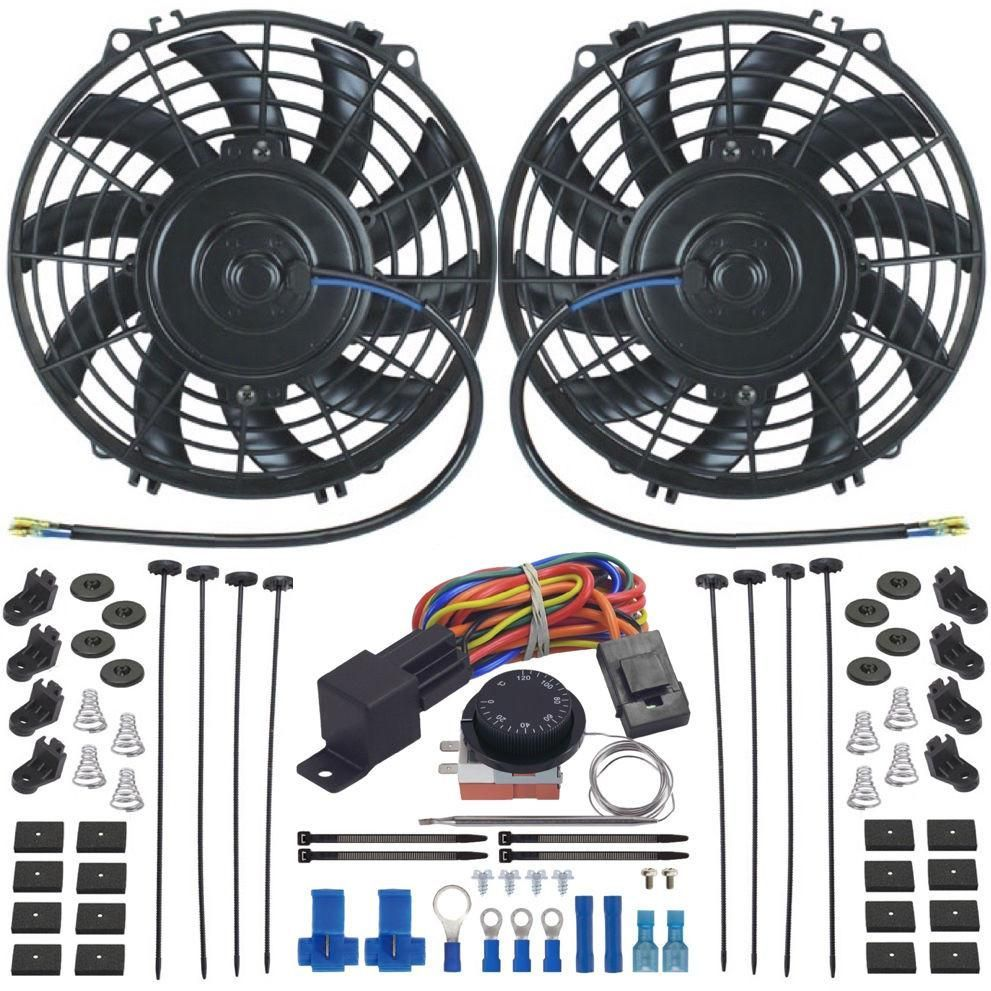Dual 9 Inch Electric Cooling Fans Adjustable Thermostat Control