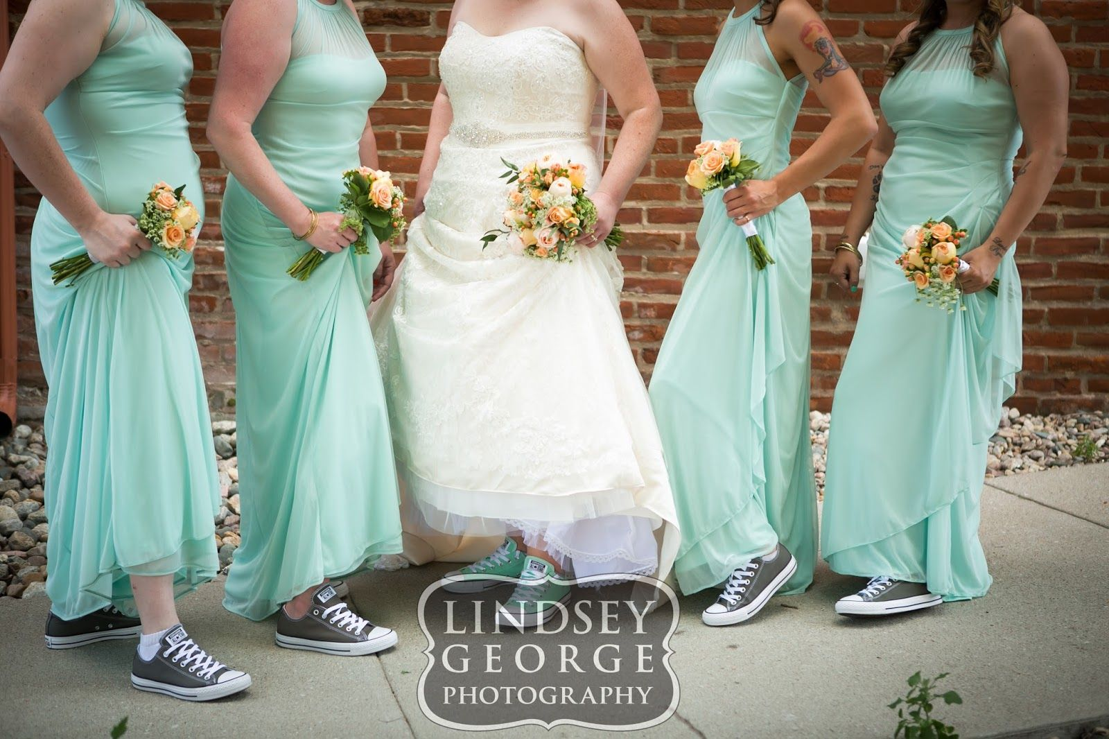 6b8f4d20474f Bridesmaids and bride wearing chucks Chuck Taylor Converse fun and  comfortable wedding shoes - click to view full gallery