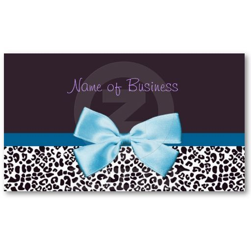 Trendy Blue And Purple Leopard Print With Ribbon Business Cards #cute #girly #fashion
