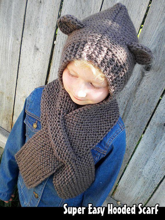 Super Easy Hooded Scarf Knitting Pattern | Bufanda con capucha ...