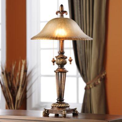 KIRKLANDS Prescott Bronze Glass Table Lamp Item #: 089194 $49.99 Shade  Measures 6H In.