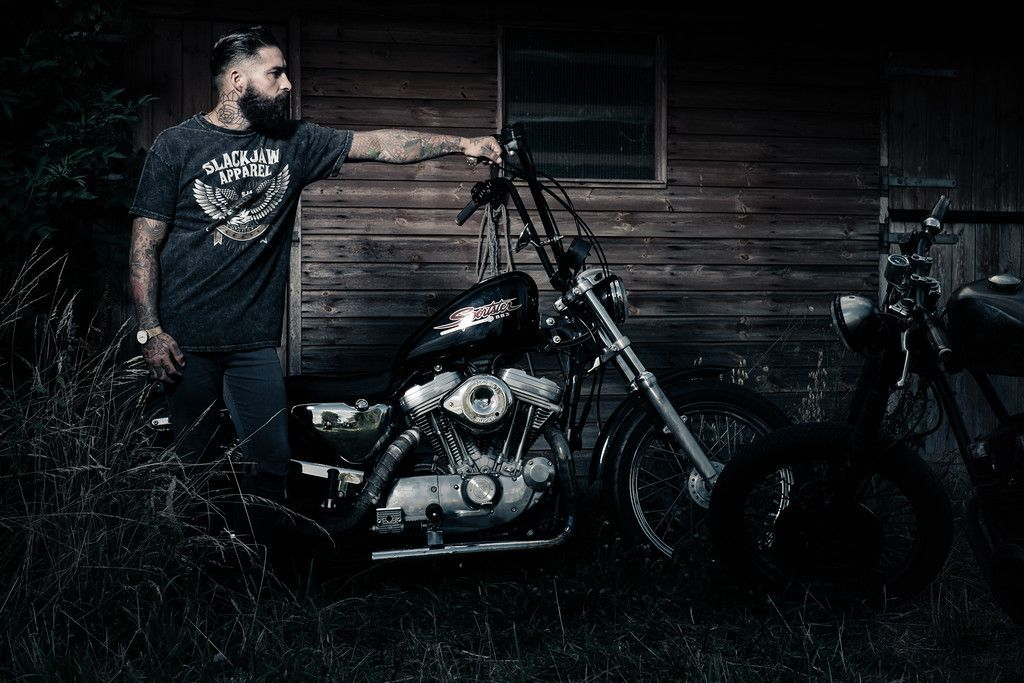 Harley Davidson Chopper Motorcycle Men Tattoos Tattoo Beards Beard Biker Photography Hair Barber Guy Male Fotografie En Afbeeldingen