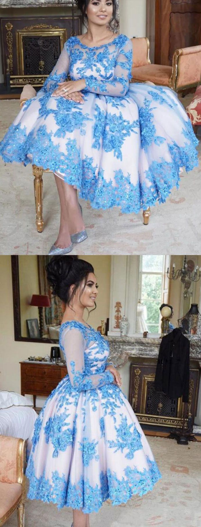Tea length homecoming dresses prom dress with long sleeves from
