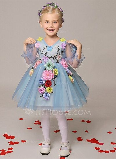 [US$ 65.39] A-Line/Princess Short/Mini Flower Girl Dress - Organza Long Sleeves V-neck With Embroidered/Flower(s) (010092258)